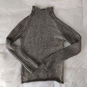 Gray Zara Knit Mockneck Wool Sweater Size Small